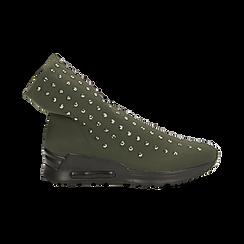 Sneakers verdi slip-on in lycra con cristalli, Scarpe, 122808611LYVERD, 001 preview