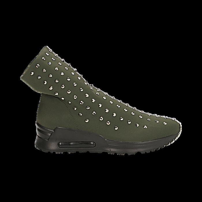 Sneakers verdi slip-on in lycra con cristalli, Scarpe, 122808611LYVERD