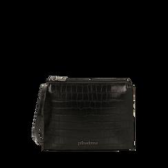 Bustina nera con stampa cocco, IDEE REGALO, 165122634CCNEROUNI, 001a