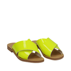 Mules flat gialle in vernice fluo, 136767002VEGIAL035, 002a
