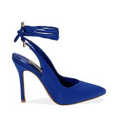 Destalonado azul satinado con cordones, tacón 11 cm, Primadonna, 172168642RSBLUE036, 001a