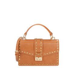Bolso coñac pequeño con tachuelas, Primadonna, 175122990EPCOGNUNI, 001a