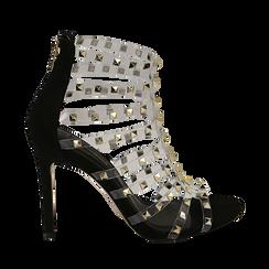 Sandali borchiati neri in microfibra e pvc, tacco 10,50 cm , Primadonna, 152131519MFNERO035, 001a