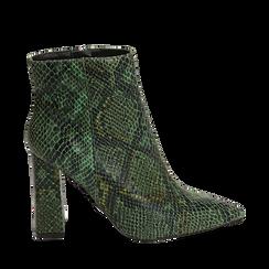 Ankle boots verdi in eco-pelle stampa pitone, tacco 9,5 cm , Primadonna, 142186672PTVERD035, 001a
