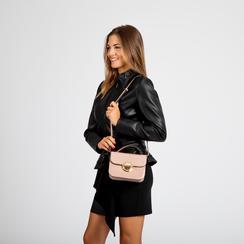 Borsa a tracolla rosa nude in ecopelle vernice, Saldi, 122408030VENUDEUNI, 005 preview