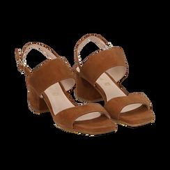 Sandali cuoio in camoscio, tacco chunky 6 cm, Primadonna, 13D602056CMCUOI036, 002 preview