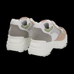Dad shoes rosa in microfibra e tessuto tecnico, Scarpe, 132899259MFROSA036, 004 preview