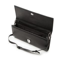 Pochette nera in eco-pelle con maxi-catena, Borse, 133322173EPNEROUNI, 004 preview