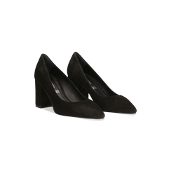 Décolleté nere in vero camoscio, tacco quadrato 5 cm, Scarpe, 12D612710CMNERO, 002 preview