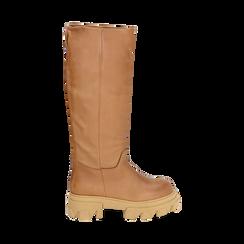 Stivali chunky cuoio in pelle di vitello, tacco 4 cm, Primadonna, 16A500050VICUOI038, 001 preview