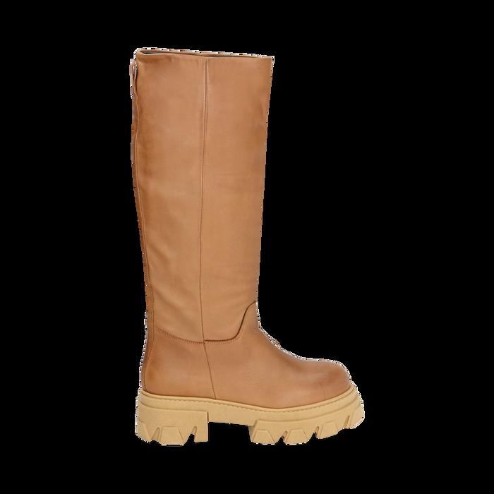 Stivali chunky cuoio in pelle di vitello, tacco 4 cm, Primadonna, 16A500050VICUOI038