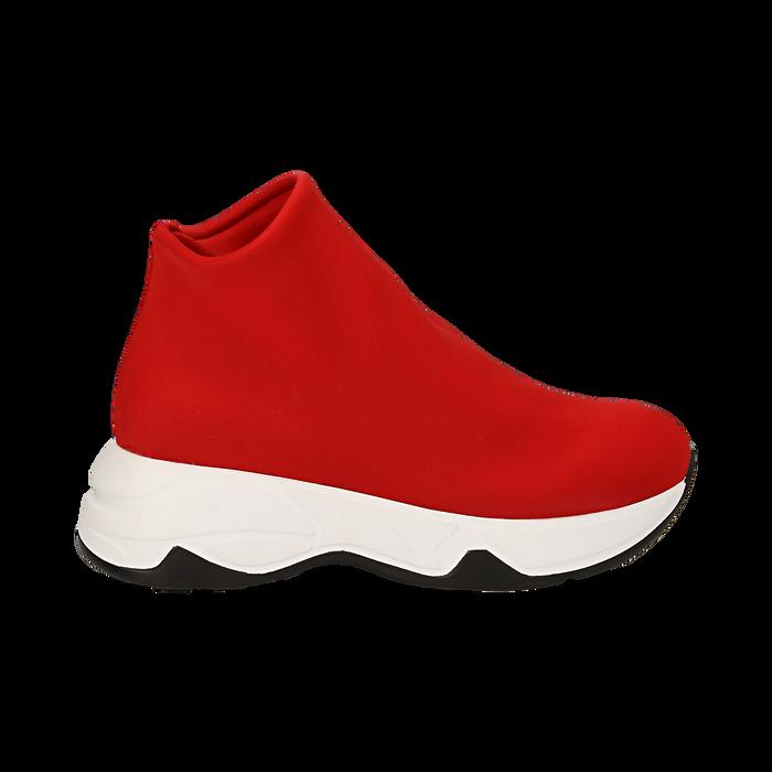 buy popular 8f983 a8a93 Sneakers a calza rosse in lycra, zeppa 5 cm