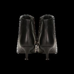 Tronchetti neri in vera pelle, tacco a rocchetto 6 cm, Primadonna, 12D618402VINERO036, 003 preview