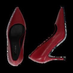 Décolleté a punta rosse in eco-pelle, tacco 9 cm , Scarpe, 142151062EPROSS035, 003 preview