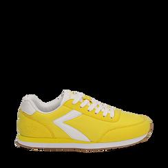 Sneakers gialle in tessuto, design aerodinamico, Scarpe, 132619024TSGIAL035, 001a