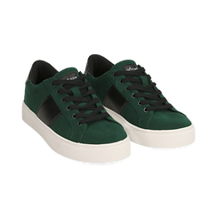 Sneakers verdi in microfibra, Scarpe, 142619071MFVERD036, 002 preview