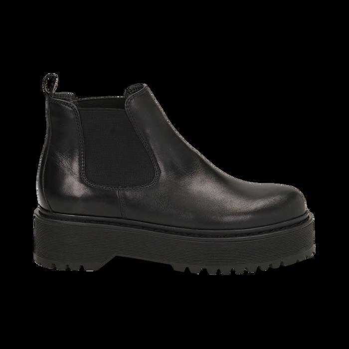 Chelsea boots neri in vera pelle, tacco 4,5 cm , Primadonna, 147728503PENERO040