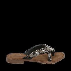 Ciabatte nere in raso con pietre, Chaussures, 15K808061RSNERO035, 001a