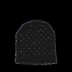 Cappello nero in tessuto con cristalli, Abbigliamento, 14B406053TSNEROUNI, 001a