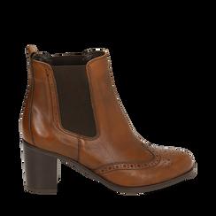 Ankle boots cuoio in pelle, tacco 7,50 cm, Primadonna, 167738004PECUOI036, 001a