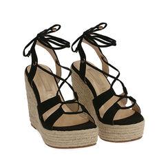 Sandalias de microfibra negra, cuña 12 cm, 172108242MFNERO036, 002a