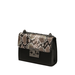 Borsa piccola bianco/nera stampa pitone, Primadonna, 165122371PTBINEUNI, 002a