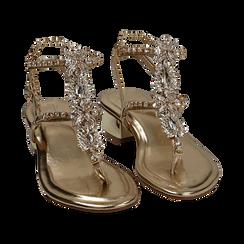 Sandalias en eco-piel laminada con pedrería color dorado, tacón 3,5 cm , OPORTUNIDADES, 154927101LMOROG036, 002 preview