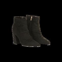 Tronchetti neri drappeggiati, tacco 9 cm, 120381116MFNERO036, 002