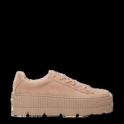 Sneakers rosa nude con suola extra platform zigrinata, Primadonna, 122618776MFNUDE035, 001a