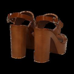 Sandali platform cuoio in eco-pelle con due fasce, tacco 12 cm , Primadonna, 132147761EPCUOI035, 004 preview
