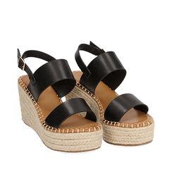 Sandalias negras, cuña 9 cm, 174906067EPNERO036, 002a