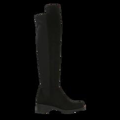 Stivali neri scamosciati con gambale alto sopra il ginocchio, tacco 3 cm, Primadonna, 122808641MFNERO, 001 preview