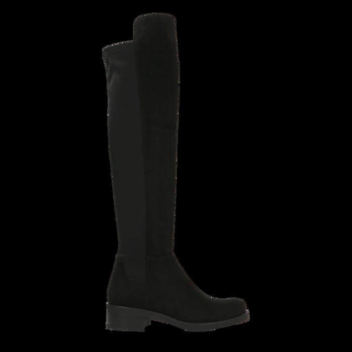Stivali neri scamosciati con gambale alto sopra il ginocchio, tacco 3 cm, Primadonna, 122808641MFNERO