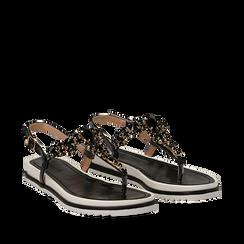 Sandali neri in laminato con suola in gomma, Primadonna, 134950091LMNERO035, 002a