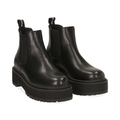 Chelsea boots platform neri in eco-pelle, suola 5,5 cm ,