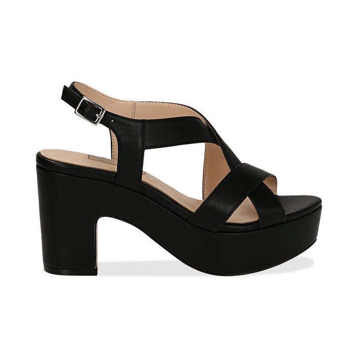 Sandali con plateau neri in eco-pelle, tacco 9 cm , Scarpe, 138402258EPNERO037