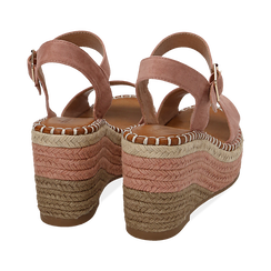 Sandali nude in microfibra, zeppa 9 cm , Chaussures, 154907131MFNUDE035, 004 preview