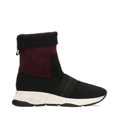 Sneakers nero-rosse sock boots con suola in gomma bianca, Primadonna, 124109763TSNERS036, 001a