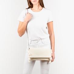 Pochette bianca in raffia, Borse, 155122434RFBIANUNI, 002a