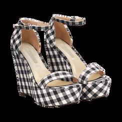 Sandali bianco/neri in tessuto Vichy, zeppa 13 cm, Scarpe, 132117220TSNEBI035, 002 preview