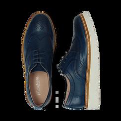 Stringate flatform blu in eco-pelle, Scarpe, 133009503EPBLUE036, 003 preview
