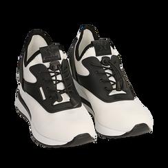 Sneakers bianche in tessuto con zeppa, Scarpe, 152803421TSBIAN035, 002a