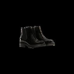 Chelsea Boots neri vernice con tacco basso, Scarpe, 120618208VENERO, 002 preview