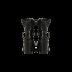 Tronchetti neri in vera pelle con fibbia rettangolare, tacco 5 cm, Scarpe, 127723803PENERO, 003 preview