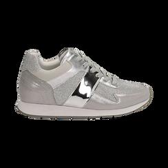 Sneakers glitter argento con dettaglio mirror, Scarpe, 132899414GLARGE036, 001 preview