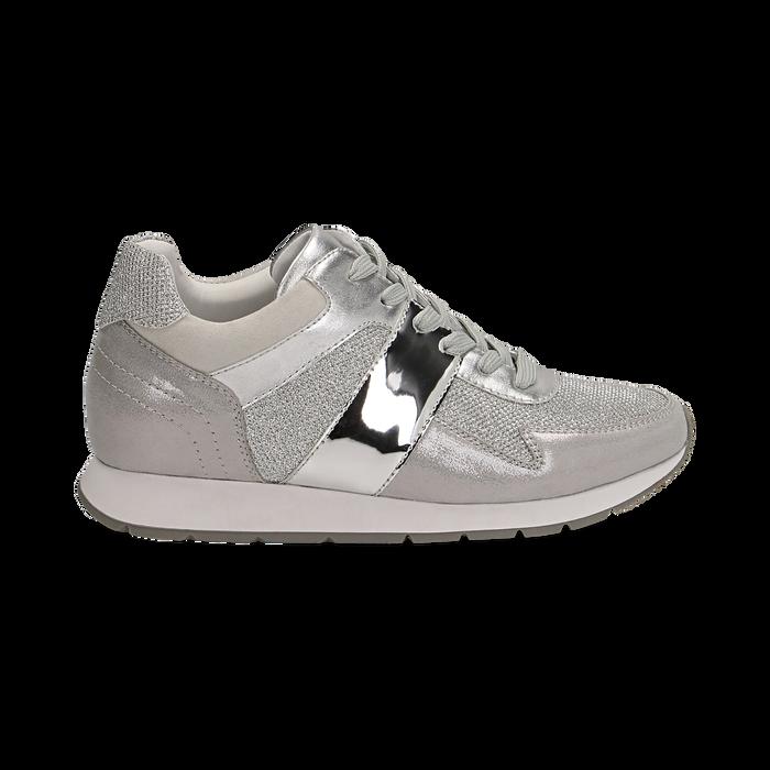 Sneakers glitter argento con dettaglio mirror, Scarpe, 132899414GLARGE036