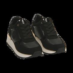 Sneakers en microfibra, cuña 4 cm , POMOCIONES, 162826712MFNERO037, 002 preview