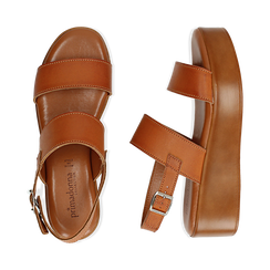 Sandali platform cuoio in eco-pelle, zeppa 5 cm , Saldi Estivi, 13A133254EPCUOI039, 003 preview