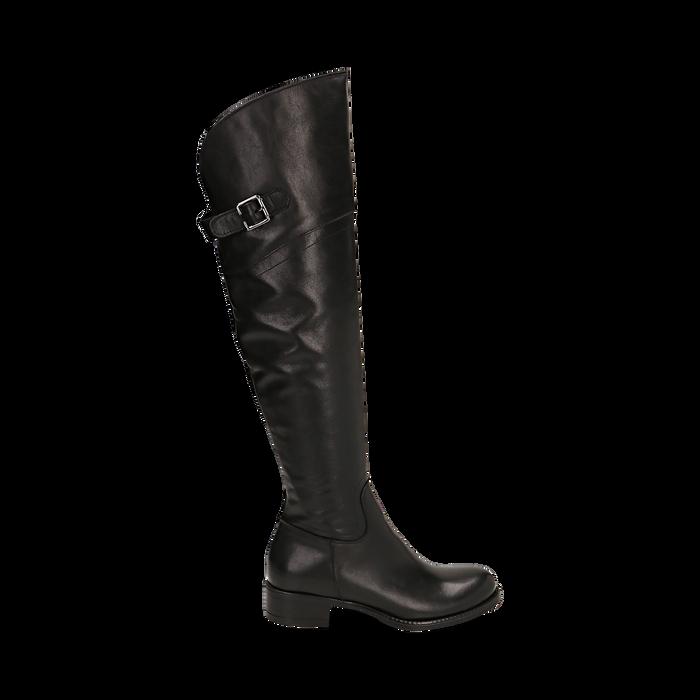 Overknee neri in pelle di vitello, tacco 3,5 cm , Stivali, 14A200150VINERO036