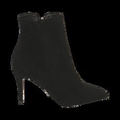 Ankle boots a punta neri in microfibra, tacco 8,5 cm , Stivaletti, 141764344MFNERO035, 001 preview